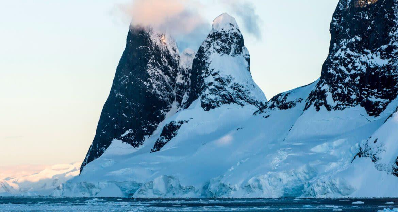 Mountain spires on Antarctica coast