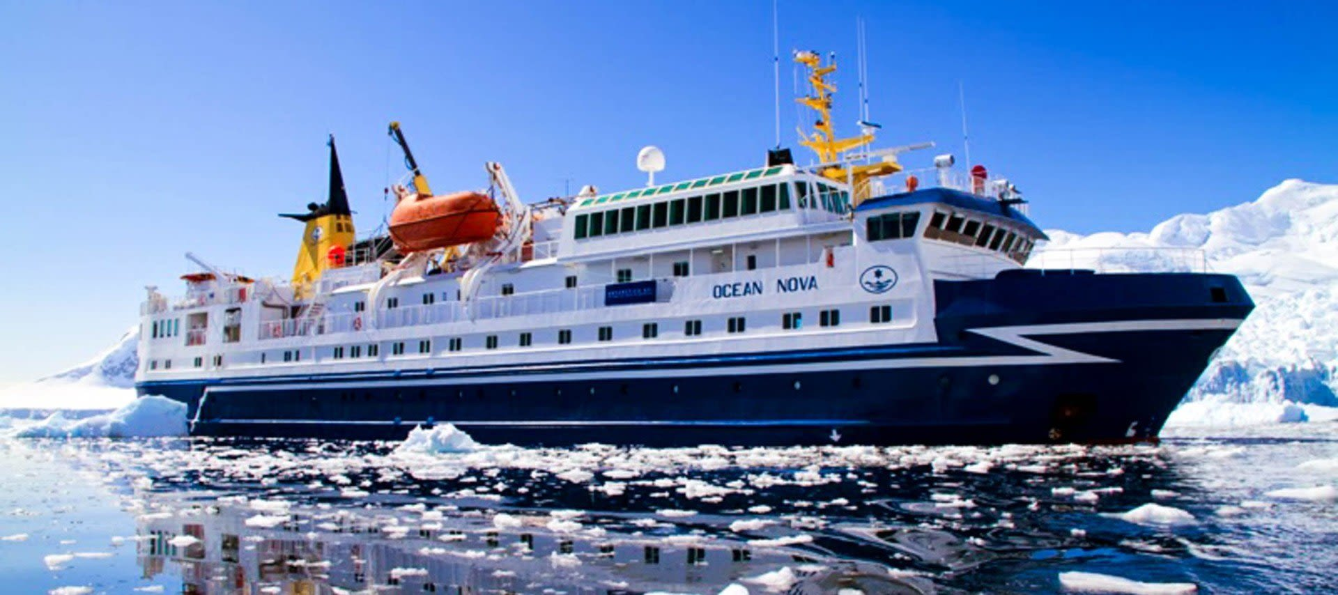 Cruise ship among ice floes in Antarctica