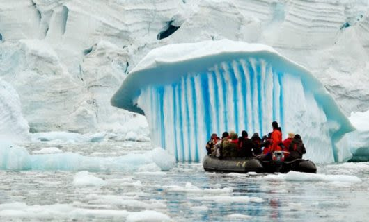 Antarctica group on polar raft near ice cap