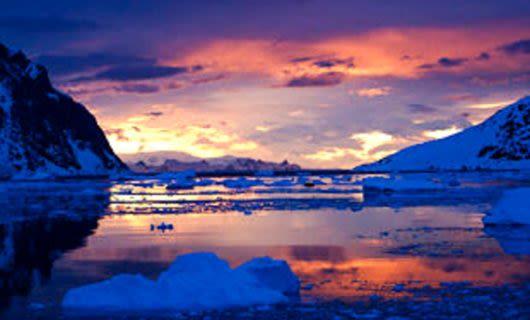 Sunset over Antarctica ocean