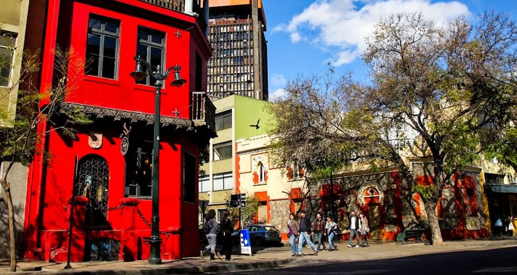 Red building on Argentina city street