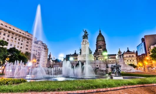 Fountain in city plaza of Argentina