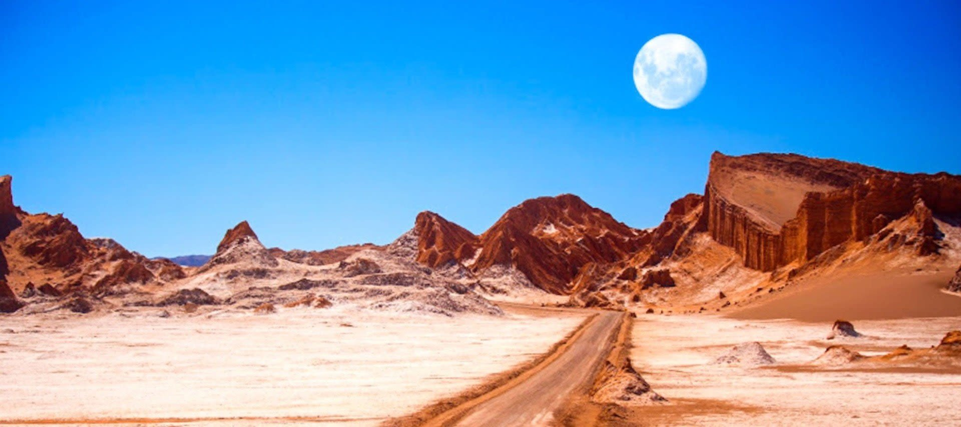 Full moon hangs over Atacama Desert