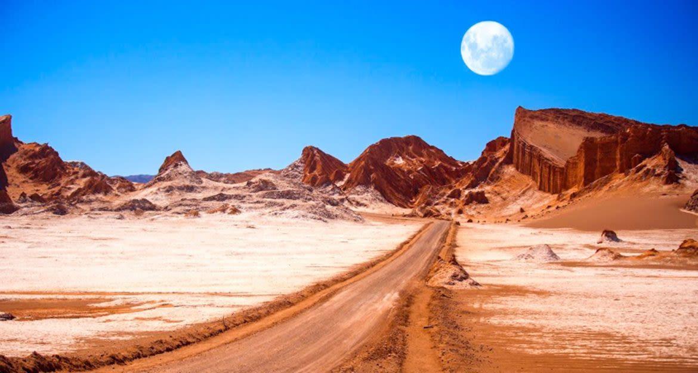 Full moon hangs over Atacama Desert