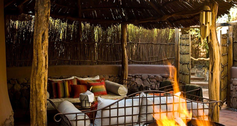 Outdoor lounge area of Awasi Atacama Lodge