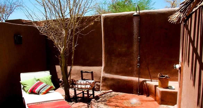 Outdoor shower at Awasi Atacama Lodge