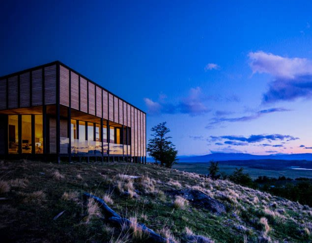 Exterior of Awasi Patagonia Lodge at night
