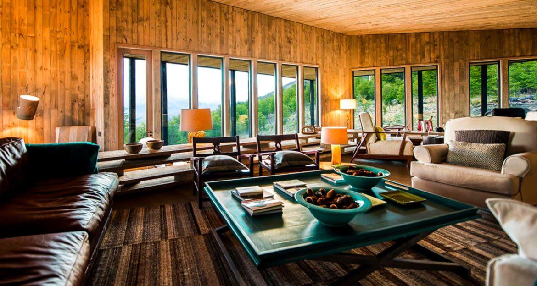 Lounge area of Awasi Patagonia Lodge