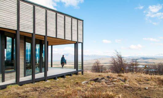Exterior of Awasi Patagonia Lodge in morning