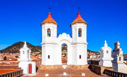 Bell towers on roof of Bolivia building