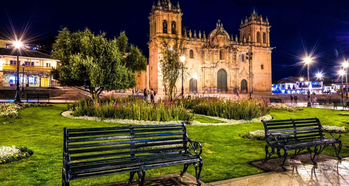 Benches in front of Peru monastery at night