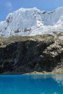 Blue lake in Huascaran National Park Peru