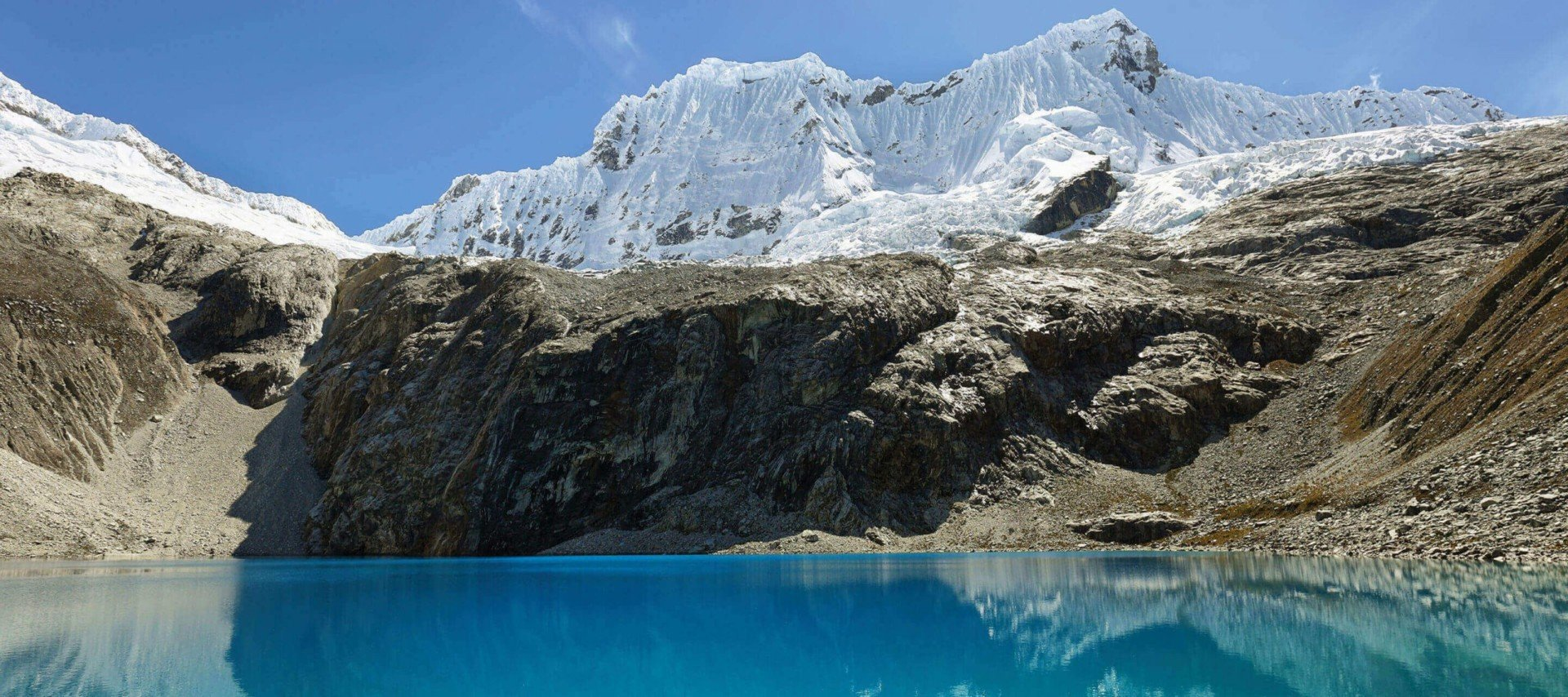 Blue lake in Huascaran National Park Peru