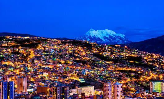 Aerial view of Bolivia city at night