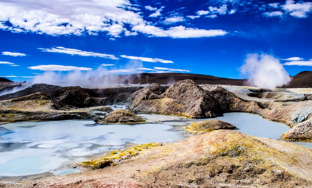 Landscape of geysers in Bolivia