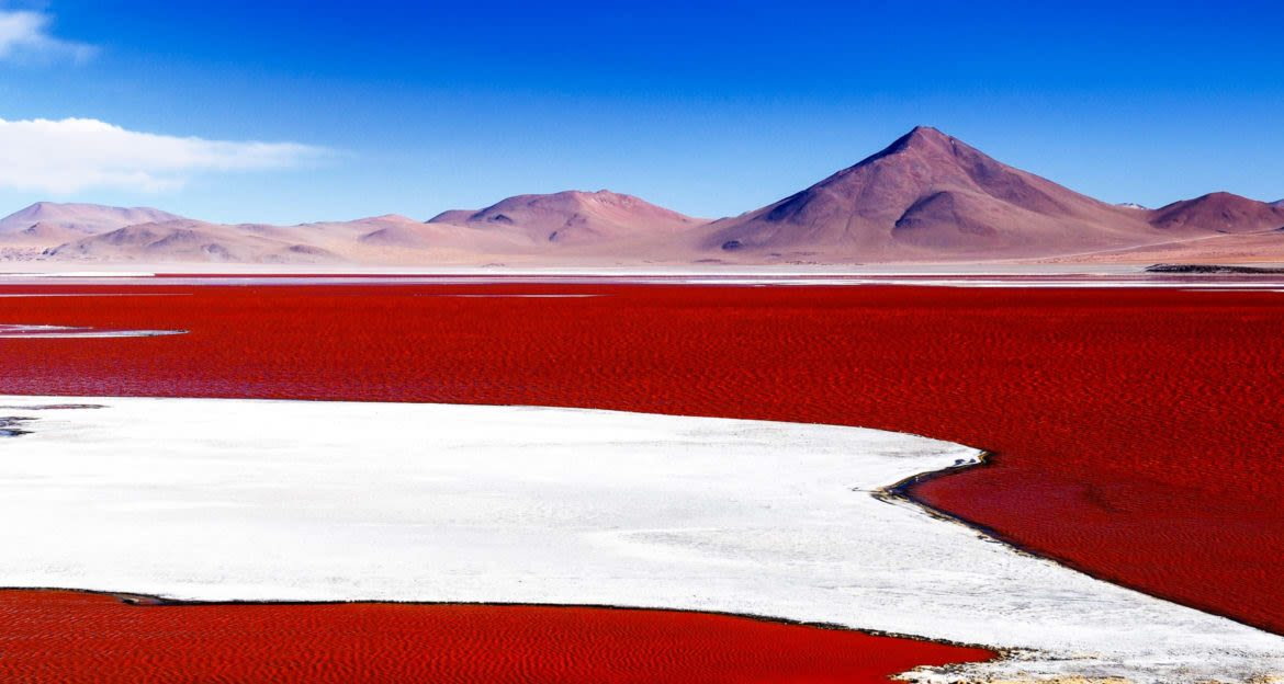 Bolivia mountains behind red of salt flats