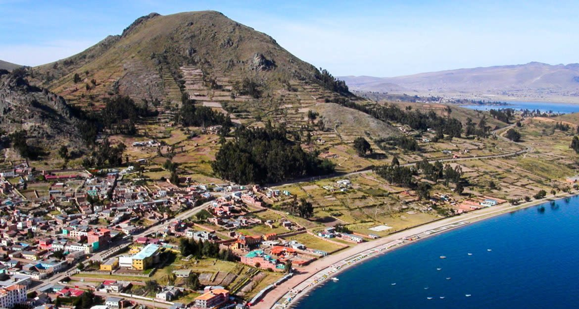 Aerial view of Bolivia town