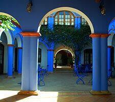 blue, unique exterior of the hotel