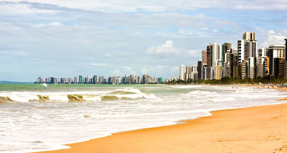 Brazil beach with city behind