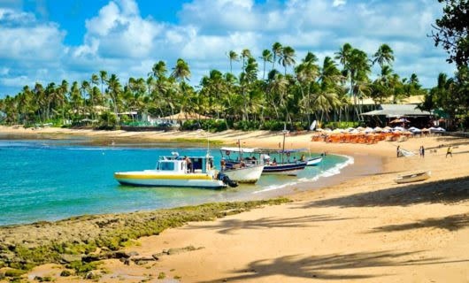 Boats on beach on Brazil