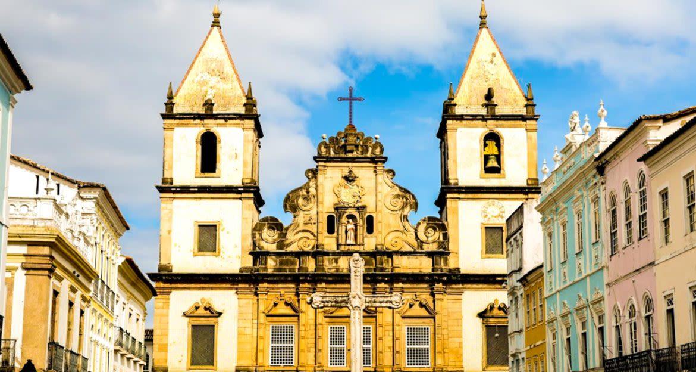 Church in Brazil city plaza