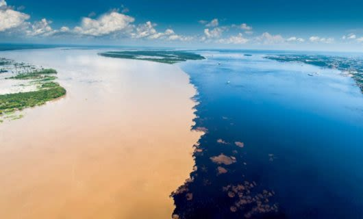 Aerial view of Brazil's Meeting of the Waters