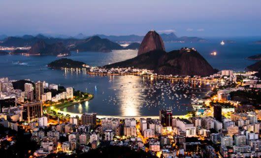 Aerial view of Rio de Janeiro, Brazil at evening