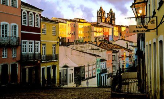 Colorful houses line Brazil street