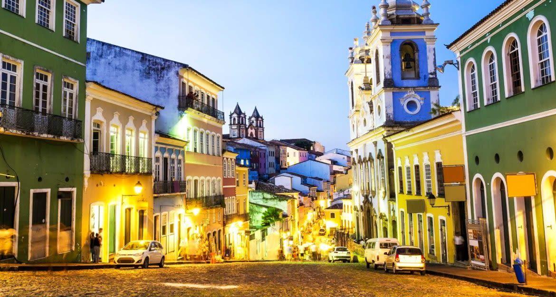Cobbled Brazil street at twilight