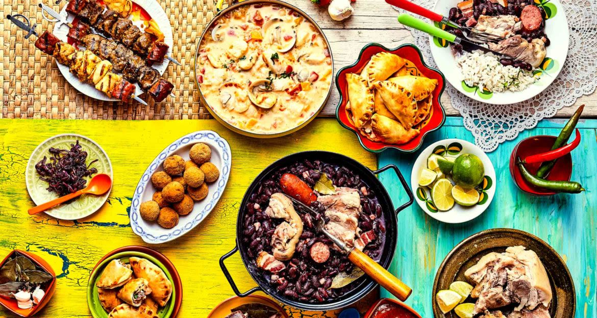 Top down view of Brazilian food dishes