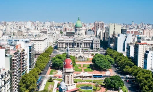 Aerial view of government building in Buenos Aires