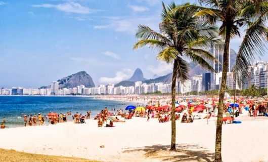 Busy beach in Brazil