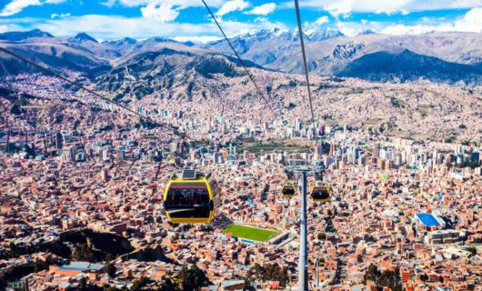 Cable car descends over Rio de Janeiro