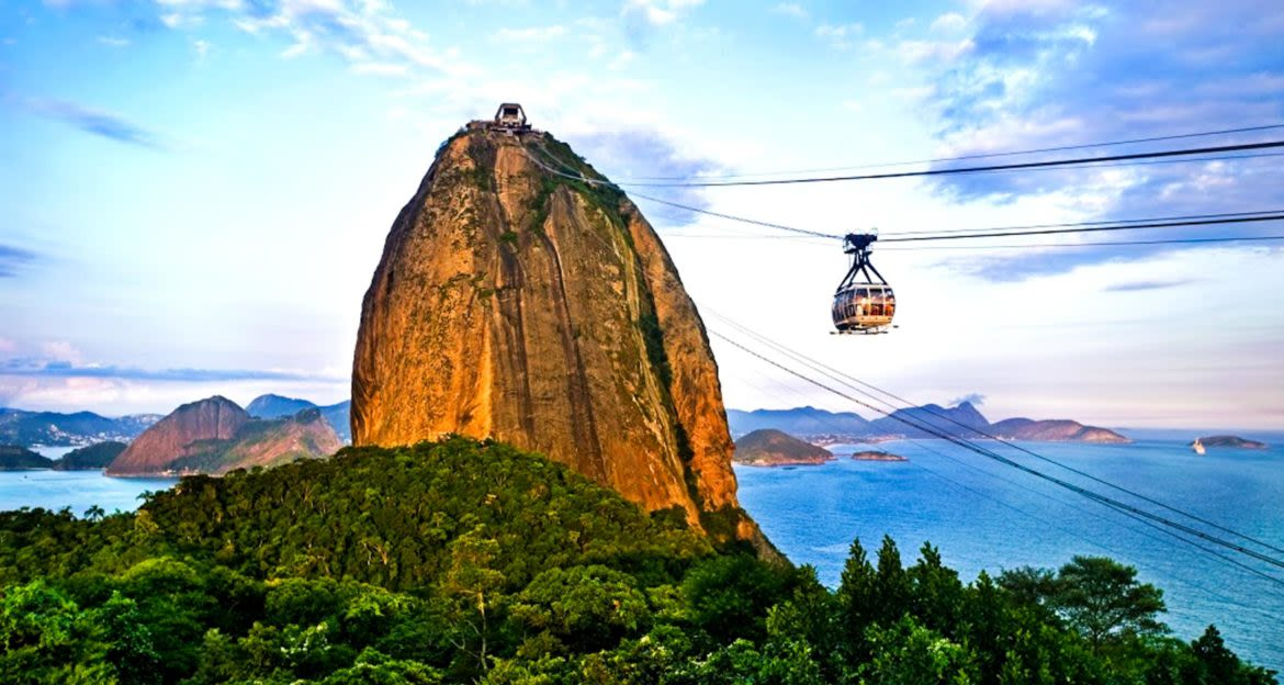 Cable car approaches top of Brazil moutain