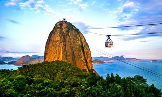 Cable car approaches top of Brazil mountain