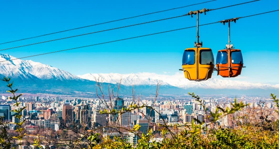 Cable cars above Santiago, Chile