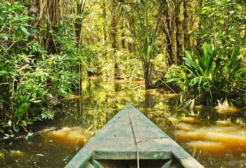 canoe cruising on the amazon river