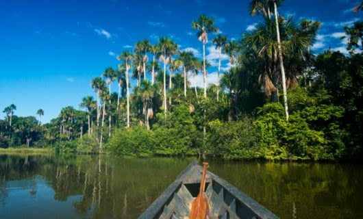 Paddle rests in prow of canoe on Amazon river