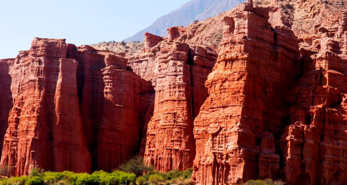Red canyon wall in South America