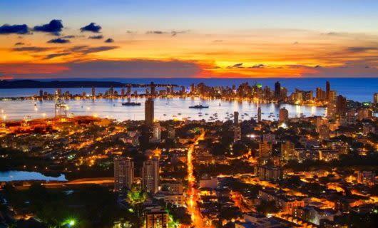 Sunset over city of Cartagena