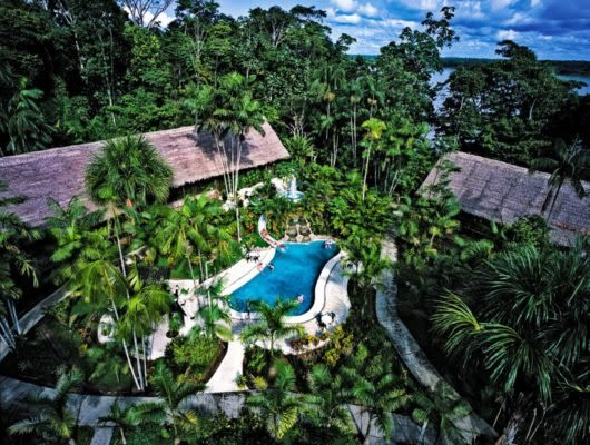 Aerial view of Ceiba Tops Lodge pool