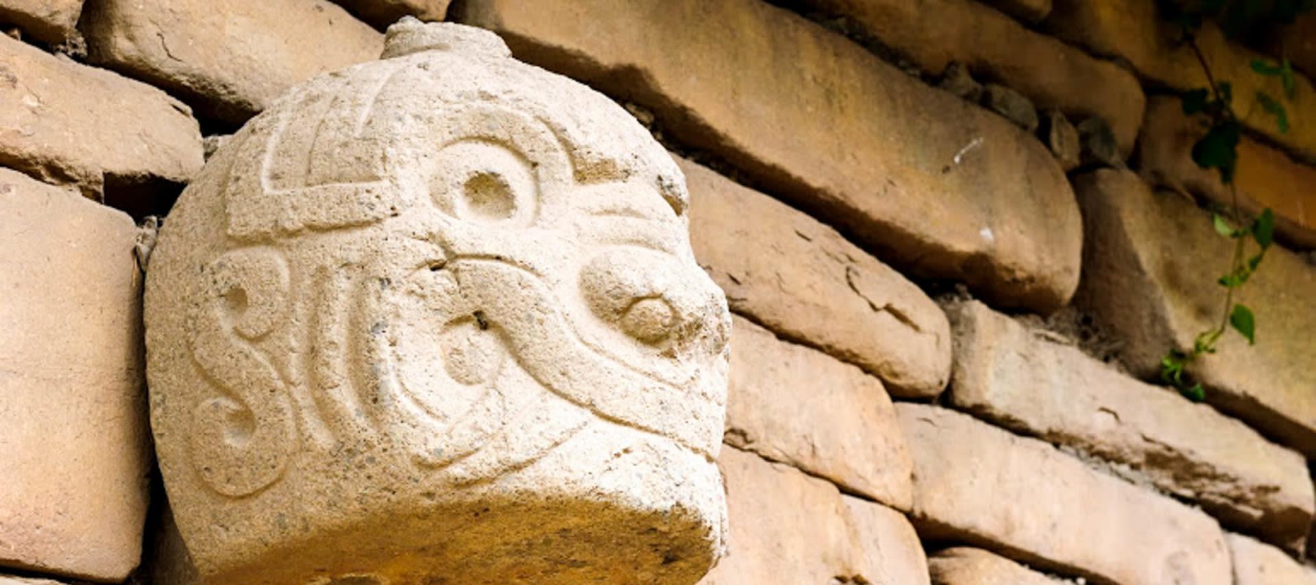 scaled statue of Chavin in Peru
