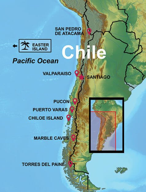 map of Chile including Easter Island tour destinations
