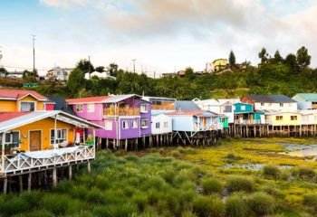 Colorful houses on stilts on Chiloe Island in Chile