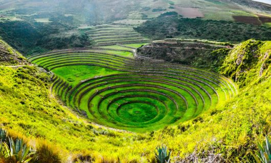 Aerial view of concentric circles of Chinchero Inca ruins