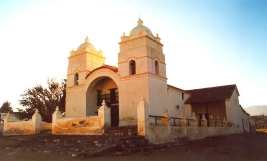 South America church at sunset