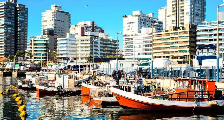 Boats anchored in city harbor