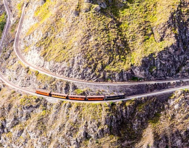 Aerial view of cliffside train track