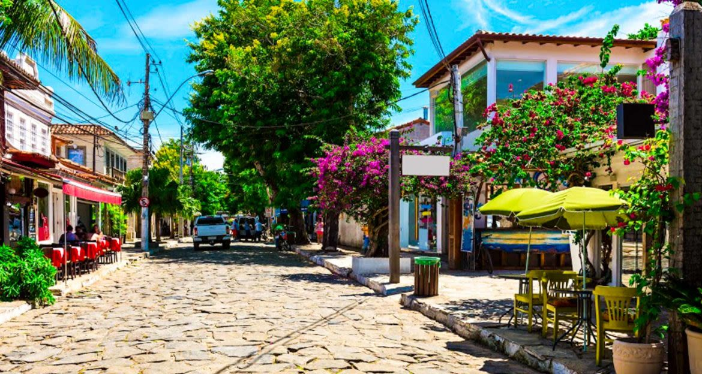 Cobblestone street in Brazil town