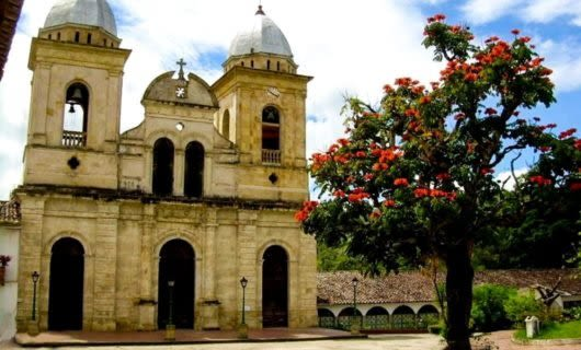 Church and tree in Colombia